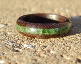 Men's Wenge wood ring with Chrome Diopside stone Inlay combined wood fusion ring size 11