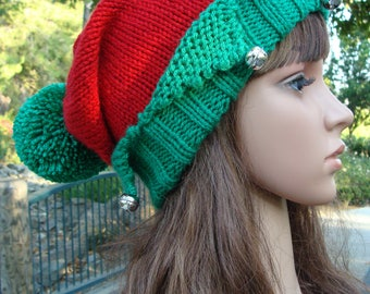 Santa's Little Elf knit hat with jingle bells and Pom-pom, Elf knit hat, Elf hat, Size Teen/Adult