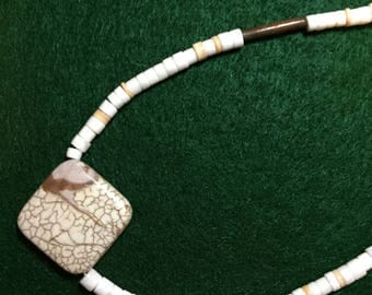 21 inch handmade white / beige beaded necklace -