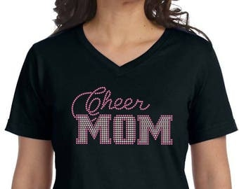 Rhinestone Transfer, Cheer Mom Rhinestone Transfer, Rhinestone Cheer Mom, Rhinestone Iron On Heat Transfer, Rhinestone Cheer Mom #615