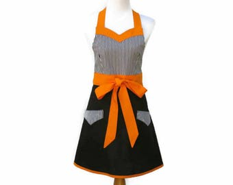 Plus Black & Orange Apron, Plus Witch Halloween Apron, Striped Apron, X-Large Orange and Black Halloween Apron,Plus Orange Kitchen Apron