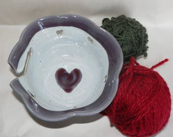 Heart Yarn Bowl for Knitting and Crocheting