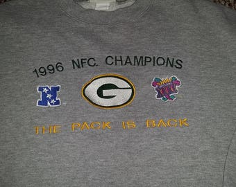 "Rare Vintage 1995/1996 Green Bay Packers NFC Championship Gray Sweatshirt - Size XL - ""The Pack is Back"" - Super Bowl 31 - 25"" Pit to Pit"