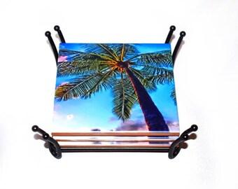 Valentines Day Gift Palm Tree Coasters / Honolulu Hawaii Ceramic Drink Coasters / Housewarming Gift / Beach Coasters / Palm Trees