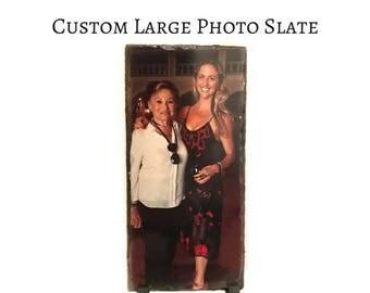 Unique Christmas Gift Personalized Photo on Slate / Large Rectangle Photo Slate / Display Cherished Photos on Natural Sedimentary Stone