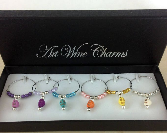 Wine Glass Charms, Skull Wine Charms, Dia de los Muertos, Wine Lover Gift, Wine Charms, Wine Gift,  BFF Gift, All Souls Day, Day of the Dead