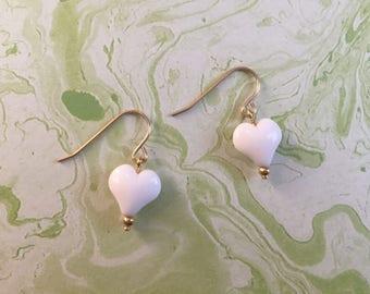 Vintage Gold Toned Metal Dangle Earrings w White Lucite Heart - Pierced Earrings