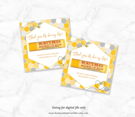 Mommy To Bee Shower Favor Printable Baby Lip Balm