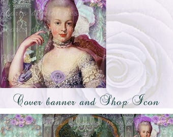 Etsy large Cover banner and shop icon, Versailles 23, instant download, blank, Marie Antointette, Palace, Paris, France, chandeliers roses