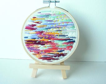 embroidery hoop art // embroidery art work// embroidery artwork //original hoop art // hand embroidery abstract // Downpour