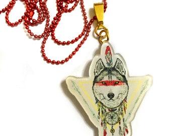 Indian Wolf Dream catcher, Wolf Native American, Bohemian, Boho, Woodlands, Plastic, Animal, Indian wolf, Aztec, Spiritual, dreamcatcher