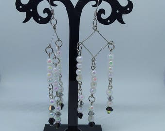 Diamond Shaped Shoulder Duster Earrings with Swarovski Crystals