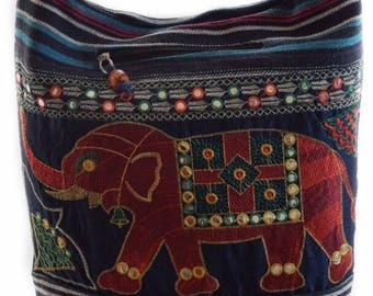 Hobo bag,Elephant design woven cotton bag, Boho bag . Messenger, Hippie, Gypsy Sling, Hippy, Crossbody, Shoulder bag,