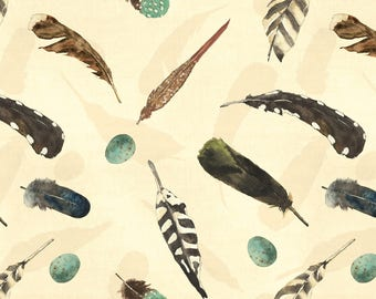 Bone Feathers Flannel Fabric-At the Lodge-Wilmington-Feather Fabric-Native American Fabric-Wildlife Fabric-Quilt Flannel-Quilting Fabric