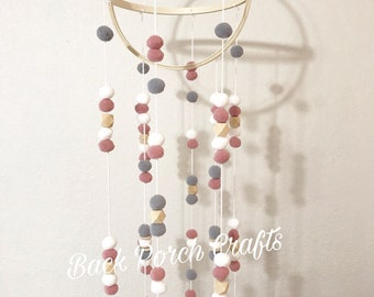Wool Felt Ball Mobile in White Grey and Rose Pink