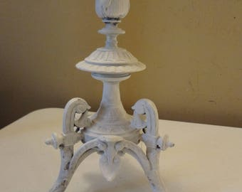 Vintage Ornate Metal Candleholder - Painted & Distressed Shabby Chic French Country Decor