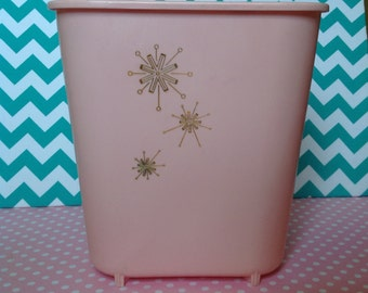 Vintage pink Rubbermaid trashcan, waste basket, pink trash can, atomic trash can, 1950s, starburst trashcan, retro pink bathroom