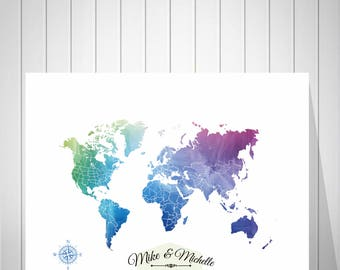 Wedding Guest Book Alternative | Anniversary Gift For Husband | Honey Moon Travel World Map | Gift For Her | Wedding Gift For Couple -52077