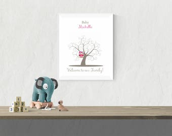 Baby Shower Owl  Thumbprint Guest Book Fingerprint Tree Guest Book Baby Girl Birthday Owl Fingerprint Baby Shower Tree Print - 43677