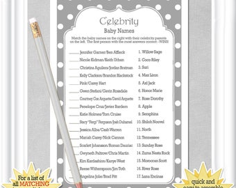 Instant Download CELEBRITY BABY Name Game With Classic Gray And White Whimsical Polka Dots