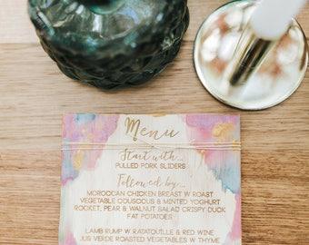 Wood menu. Laser engraved painted bohemian style.