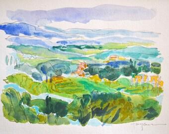 Tuscan Dream, Joyful Tuscany Landscape, Original Watercolor Painting, Plein Air Painting