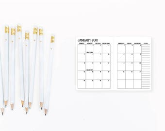 2018 Monthly Micro Traveler's Notebook Insert – Nano size - Traveller's refill - Mo2P - Month on 2 Pages