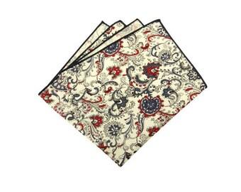 Mens Paisley Jacquard Pocket Square.Novelty Pocket Square.Matching Set.Indigo Blue. White Red. Wedding Favors.Gifts
