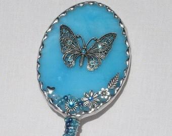 I Do Makeup Rhinestone Crystal Hand Held Mirror Adorned W