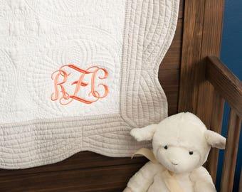Baby Girl Monogram Quilt | Girl Blanket | Baby Quilt | Monogrammed Baby Quilt | Monogram Quilt | Baby Girl Gift | Baby Shower Gift