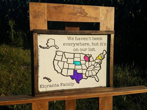 Personalized USA Map Travel Map Colorable Wooden USA Map - Colorable us map