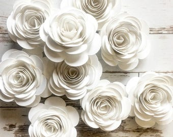 White Paper Flowers, Loose Flowers, Rolled Paper Flowers, White Party Decorations, Wedding Table Decor, Bridal Shower Party, Summer Wedding