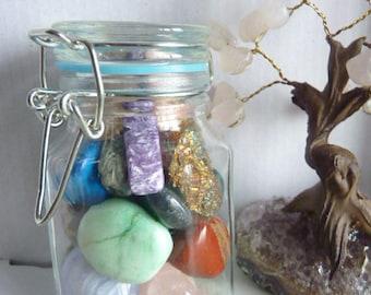 Jar of crystals home decor feng shui meditation metaphysical amethyst rose quartz turquoise Reiki Chakras