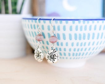 Hibiscus Silver Earrings • Sterling, gifts for her, pink, jewellery, hawaii, ocean, surf, beach, flower, cute, vacation, jewelry, Valentines