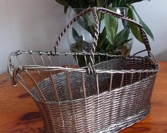 French vintage metal wire wine bottle holder, carrier, rack, basket