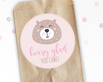 Beary Glad You Came - Favor Stickers - Favor Bag Stickers - Wild ONE - Nature Birthday - Woodland Birthday - Birthday Favor Stickers