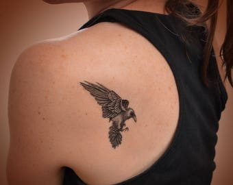 Raven temporary tattoo. Fun festival tattoo. Temporary tattoo with Raven. Animal and wildlife tattoos.