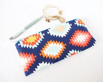 Bachelorette Gift. AZTEC Pouch. Pencil Pouch. Cute Small Pouch. Small Friend Gift. School Pouch. Gift for Sister. Small Gift Idea.