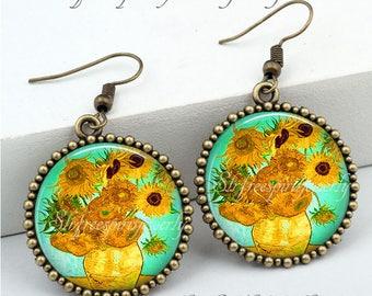 Van Gogh Sunflowers Jewelry, Van Gogh Earrings,  Sunflowers, Floral Earrings, Famous Paintings, Famous Artist, Van Gogh Gift for Women