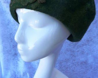 Felted Beret - Royal Green Beret - OOAK