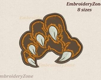 Machine embroidery design tiger paw applique Embroidery pattern applique paw of tiger or bear designs. 8 sizes