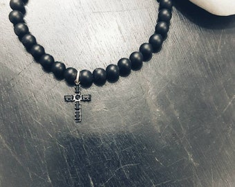 Balance Men's bracelet Black onyx and Swarovski crystals Rosary bracelet Black cross Matte onyx Gift for men