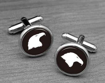 Eagle cufflinks, Animal cufflinks, Eagle Cuff links, mens cufflinks, glass cufflinks, silver cufflinks, mens cuff links, custom cufflinks
