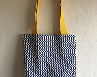Handmade Yellow, Blue & White Zigzag Book Bag