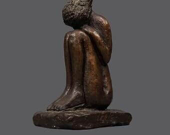 Mid Century Adler Bronze Sculpture Cringed Woman MCM MOD Modern Decor