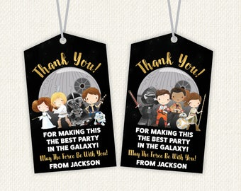 Star Wars Thank You Tags, star wars favours, star wars favor tags, Personalised Favor Tags, Thank You, star wars party, starwars birthday