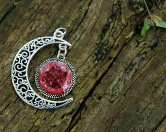 Red Moon Necklace | Hand Painted Moon | Silver Necklace