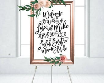 18 x 24 FRAMED SIGN . Rose Gold & Black Welcome Sign Madina Script Painted Brush Ink Calligraphy PRINTED on Foam Board - Wood Frame No Glass