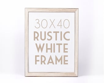 30 x 40 RUSTIC WHITE WASH Frame . Solid Pine Wood Wedding Stain Colors Black Brown Grey Ready to Hang Hardware . Sizes 5 x 7 to 30 x 40