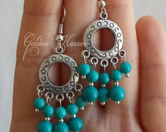 Turquoise Chandelier Earrings 925 sterling silver hooks  tibetan silver etched charm natural turquoise earrings handmade jewelry gift
